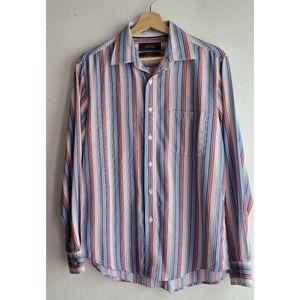 Tasso Elba Fitted Striped Shirt Sz L